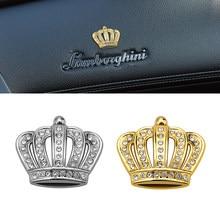1 pçs ouro/prata 3d diamante coroa de cristal adesivo automóvel metal emblema decoração do corpo carro acessórios para volkswagen toyota