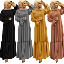 Phụ Nữ Hồi Giáo Hijab Đầm Màu Lông Xù Cánh Hoa Tay Cổ Tròn Dài Đầm Hồi Giáo Quần Áo Caftan Kimono Lớn Đầm Abaya Áo