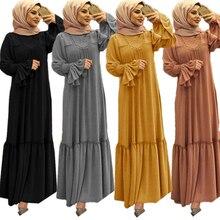Robe Hijab pour femmes musulmanes, couleur unie, à volants, manches à pétales, Maxi longue, vêtements islamiques, Caftan, Kimono, grande robe Abaya