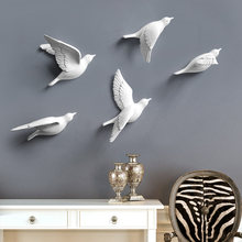 Resin Birds Creative For Wall 3d Sticker Living Room Animal Figurine Wall Murals tv Wall Background Decorative Home Decor Birds(China)