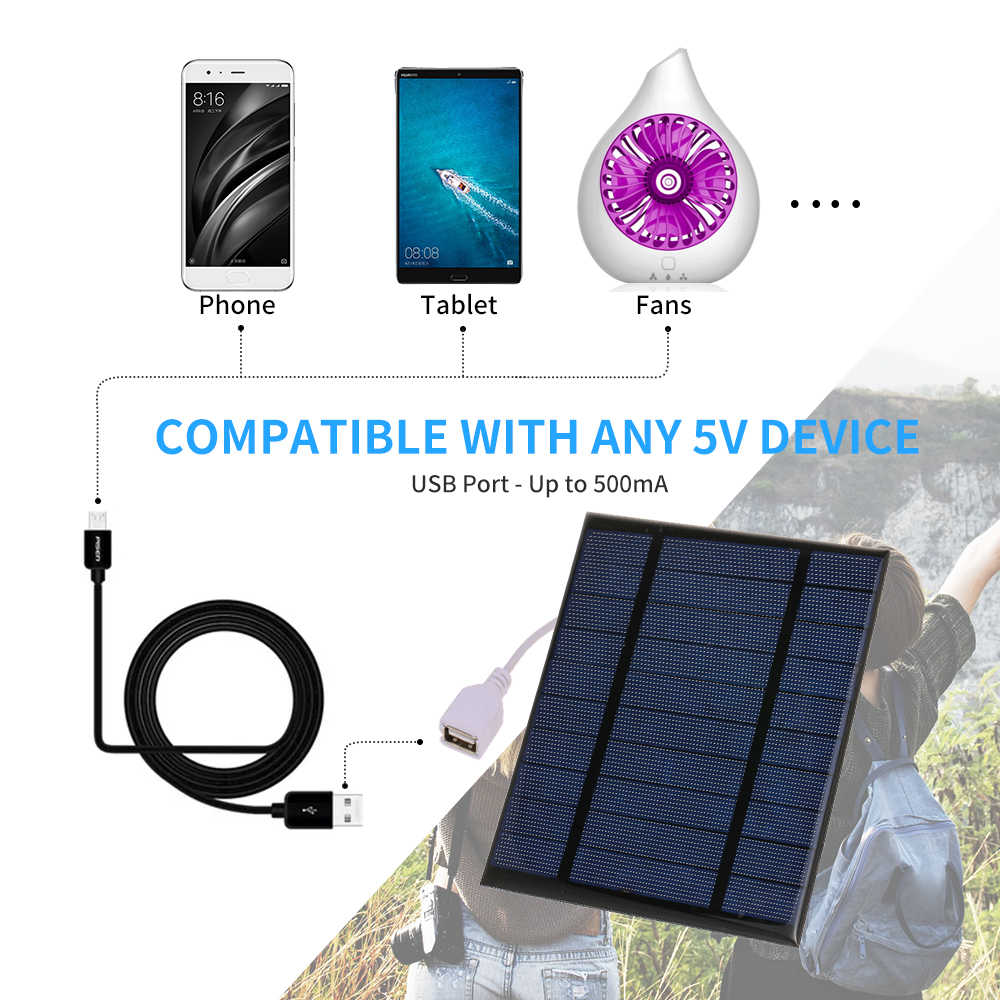 5V USB Portable Solar Charger Compact Solar Panel Phone Charger For Camping Hiking Travel Fast-charging Solar Charger