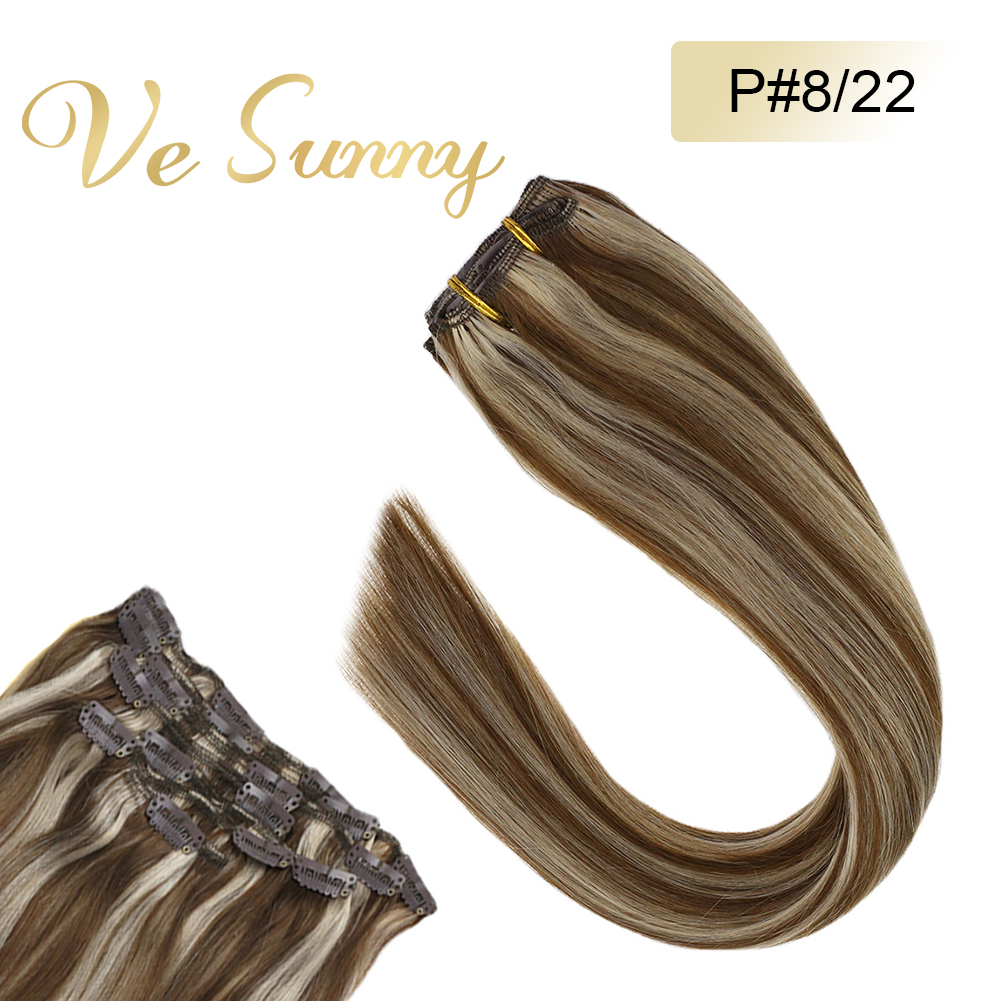 VeSunny Double Weft Clip In Hair Extensions 100% Human Hair 7pcs Clip On Extensions Highlights Color Light Brown To Blonde #8/22