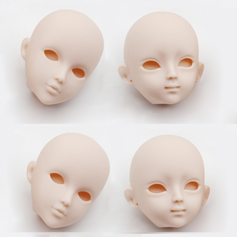 4pcs/lot Soft DIY Plastic Makeup Doll Heads For 1/6 BJD High Quality As For 29cm Doll's Practicing For Makeup Head With Eye