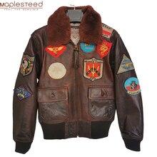 Pilot Jacket Motorcycle Cowhide Winter Clothing Biker-Coat Sheepskin Brown Man Red Black