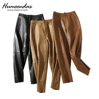 Women's Genuine Sheepskin Pants Ankle Length High waist Thickened Slim Leather Pants Pencil Pants Plus Size Harem Pants S 3XL