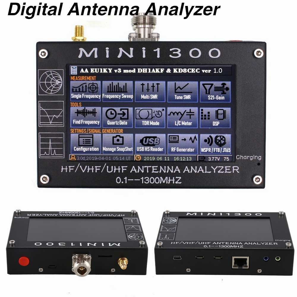 MINI1300 5V//1.5A Touch Screen Antenna Analyzer 0.1-1300MHZ SWR Frequency Counter