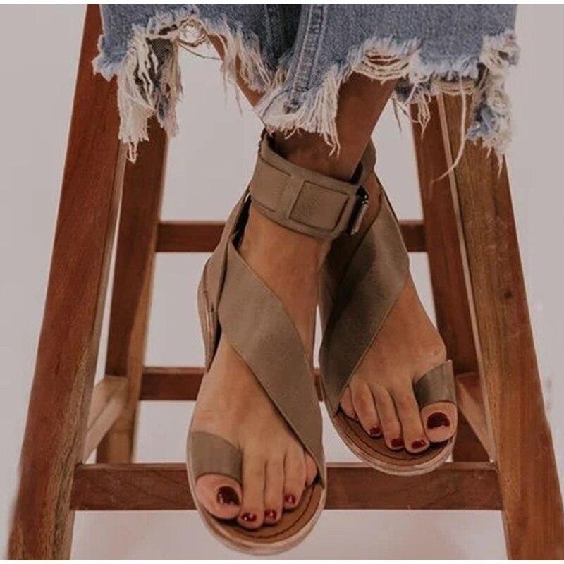 Women Buckle Strap Beach Sandals Summer Flats Casual Shoes Woman Open Toe PU Flat Fashion Sandalias Mujer Sapato Feminino