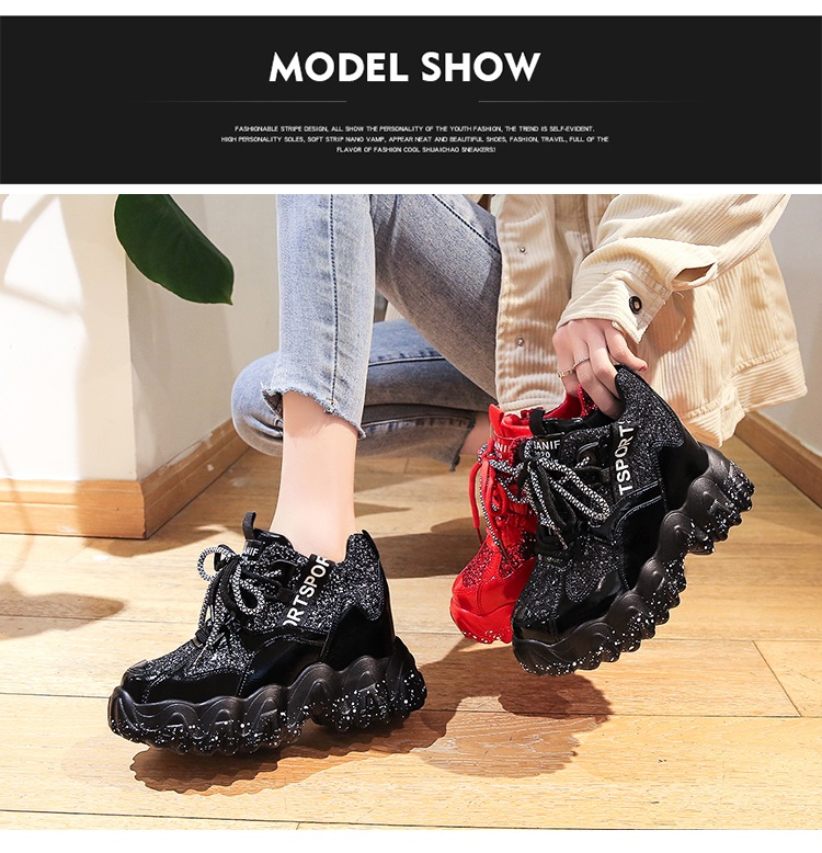 Women's Chunky Sneakers 2020 Fashion Brand Design Women Platform Trainers Casual Woman Bling Dad Shoes Ladies Footwear Red Shoes