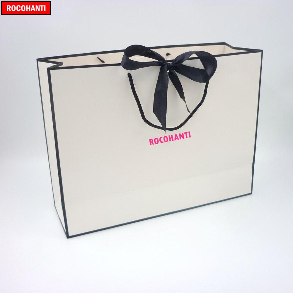 100X Custom LOGO Printed Luxury Gift Shopping Paper Bag Black Frame White Paper Bags With Lovely Bowknot Ribbon Design