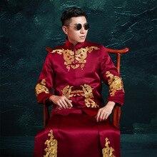 Tradicional de los hombres de estilo chino novio, ropa hombres cheongsam Tang traje Vintage de la chaqueta de la ropa en el extranjero chino traje de novio