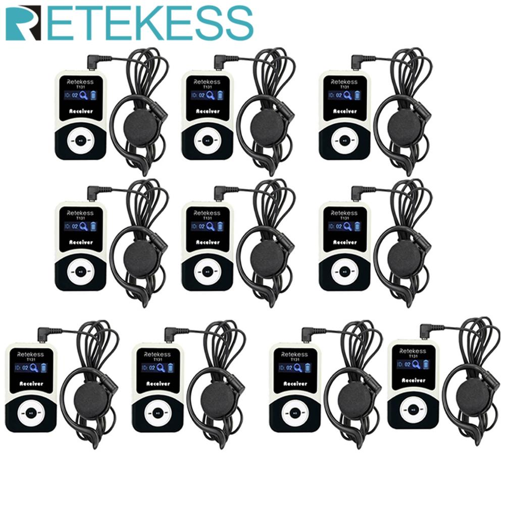 10pcs RETEKESS T131 Tour Guide Receiver For Wireless System Simultaneous Translation Meeting Interpretation