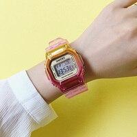 로즈 골드 여성 디지털 시계 다기능 방수 여성 시계 그라디언트 남여 남성 시계 사각형 어린이 스포츠 시계