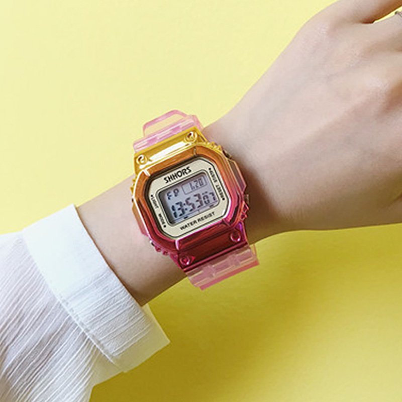 Rose Gold Women Digital Watch Multifunction Waterproof Women Watches Gradient Unisex Male Watch Rectangle Children Sport Watches title=