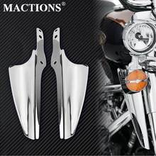 Mactions Chrome Gabel Montieren Wind Deflektoren Fit Für Harley Touring Road King FLHR 1995-Up Electra Glide Straße glide Modelle(China)