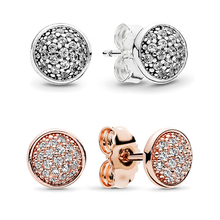 Authentic 100% S925 Sterling Silver Stud Earrings Pave Stud Earrings Unique Design ever Women Jewelry