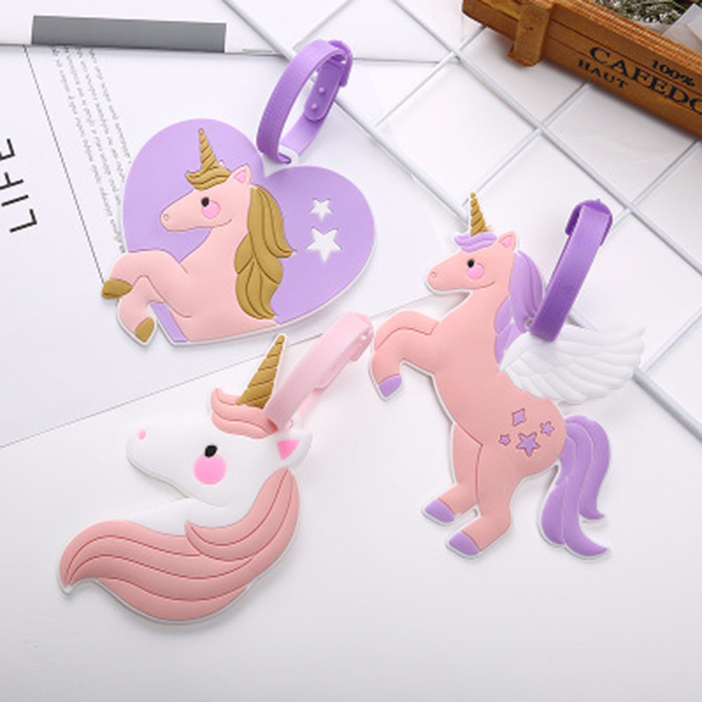 Cute Pink Unicorn Suitcase Luggage Tag Travel Accessories ID Address Holder Women Baggage Label Organizer Silica Ge Identifier