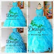 Бальные платья на тонких бретелях Кристаллы органзы синий бальное