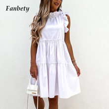 2021 Casual White A-Line Princess Party Dress Vintage Ruffle Solid Women Summer Dress Sexy Sleeveless Loose Mini Dresses Vestido