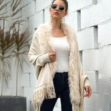 цена на ALLNeon Poncho Wool Long Cardigans Faux Fur Collar Batwing Sleeve Tassel Hem Cardigan for Female Winter Elegant Women's Cape