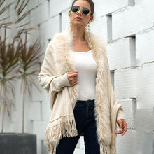 QUEVOON Poncho Wool Long Cardigans Faux Fur Collar Batwing Sleeve Tassel Hem Cardigan for Female Winter Elegant Women's Cape batwing sleeve wool cape coat