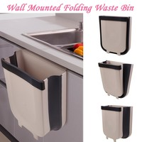 Folding Waste Bin Kitchen Cabinet Door Hanging Trash Bin Trash Can Wall Mounted Trashcan for Bathroom Toilet Waste Storage 50|Waste Bins| |  -
