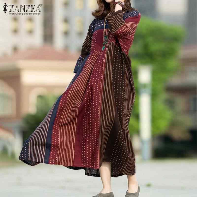 ZANZEA kadınlar Bohemian puantiyeli baskılı elbise Vintage uzun kollu gevşek Sundress Patchwork parti Vestido Kaftan Robe elbiseler 7