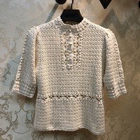 Luxury Brand Designer Knitted Pullovers for Women O Neck Vintage Handwork Crochet Hollow Out Knitted Puff Sleeve Sweater