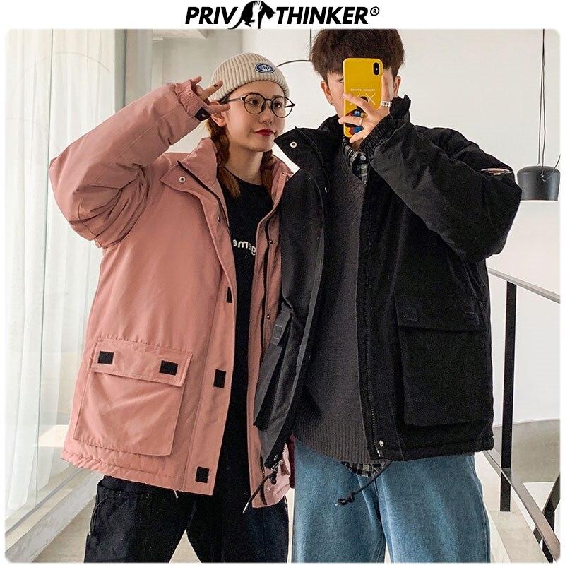 Privathinker Men Woman Safari Style Pockets   Parkas   Jackets Male Thickening Warm Hip Hop Streetwear Coat Jacket Mens Winter   Parka