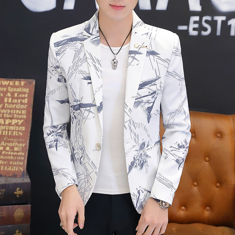 BOBO 2020 Men Spring New Style Printed BLAZER Slim Fit Youth Casual Single BLAZER