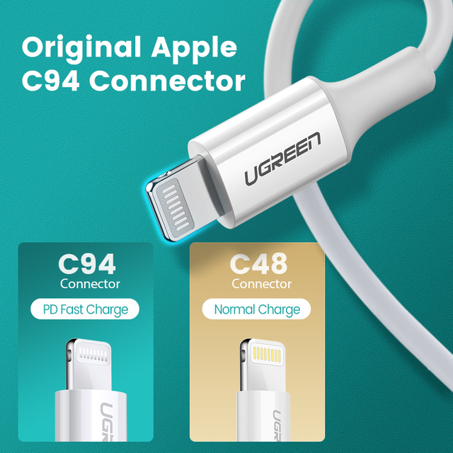 Ugreen MFi USB Type C to Lightning Cable for iPhone 12 Mini Pro Max 8 PD 18W 20W Fast USB C Charging Data Cable for Macbook Pro 4