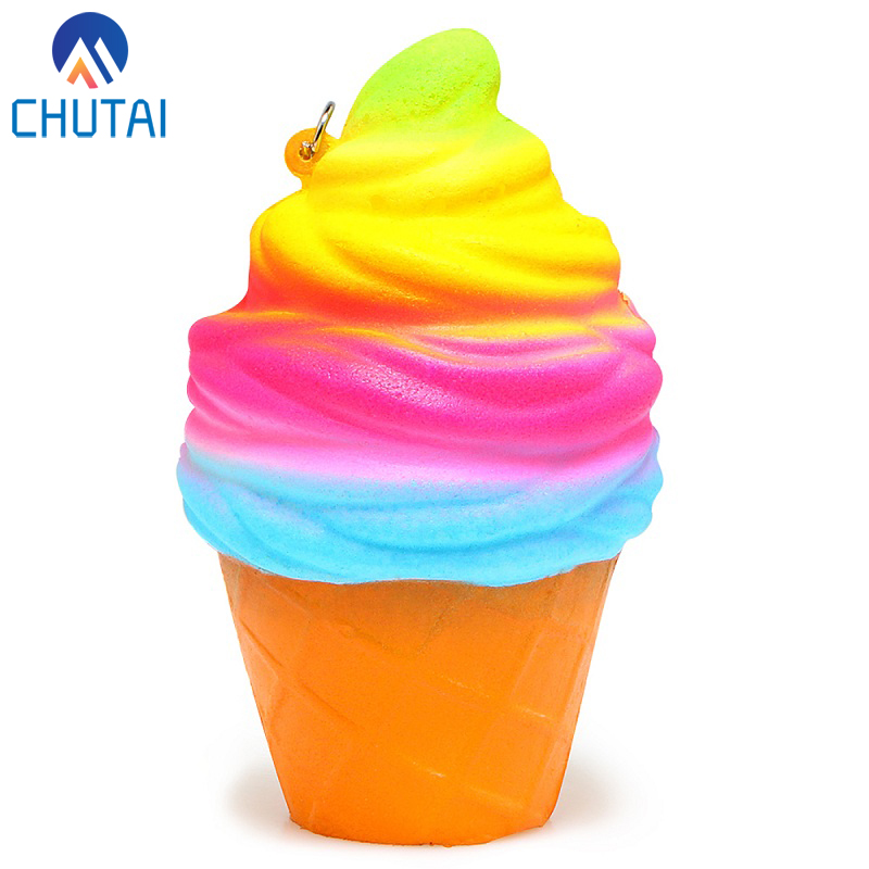 Colorful Squishy Rainbow Ice Cream Slow Rising Bread Bun Cake Sweet Scented Phone Strap Squeeze Toy Kid Gift 9.5*6CM