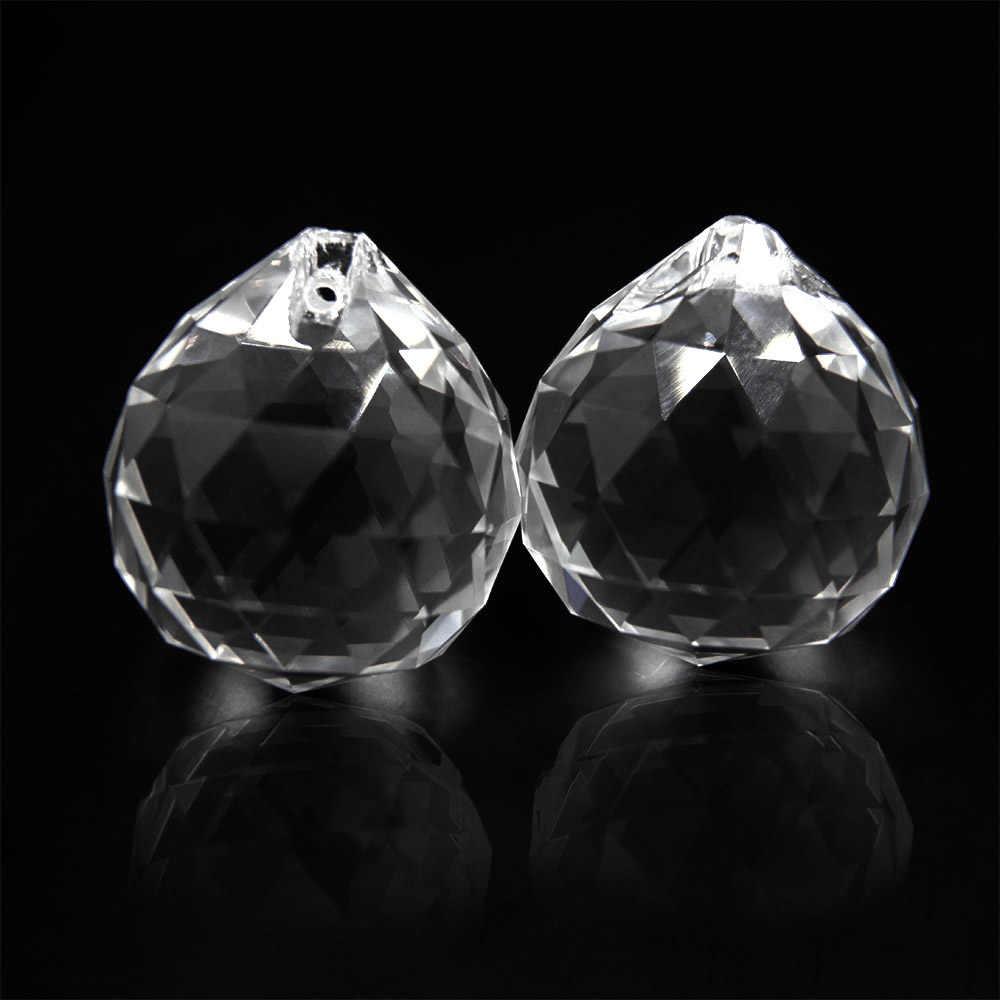 10 sztuk 30mm wyczyść szklane pryzmat części kryształ Feng Shui piłka kryształ Faceted Ball do oświetlenia/pokój weselny /wystrój okna