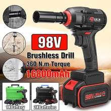 98V Motor Brushless Kunci Socket Wrench 16800 MAh Baterai Hand Bor Daya Instalasi Alat(China)