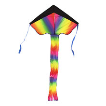 105 x 67cm Colorful Rainbow Kite Flying Kite Outdoor Beach Toys for Kids Adults with Tail Ribbons Flying Toys(China)