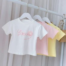 Summer Outfits Girls T-shirt Kids Children Baby Short Sleeve Casual Flower Letter O-neck Tops Basic Tee T-shirts S12483