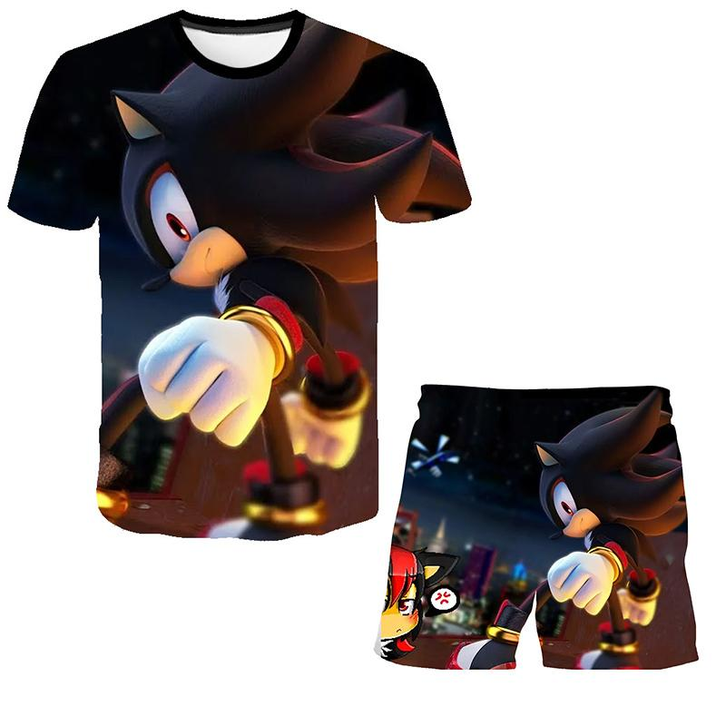 2021 Kids Clothes Sonic T-shirt Boys Suit Outfits Baby Girls Summer Teen Boys Set 4-14 Years Children Clothing T-shirt + Shorts