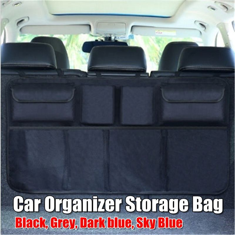 Car Trunk Backseat Storage Bag Organizer Adjustable Net High Capacity Multi-use Oxford Automobile Seat Back Organizers Universal