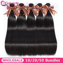 Mechones de pelo lacio brasileño, compra a granel, 10-20-50 Uds., extensiones de cabello humano de 100%, doble trama, cabello Remy de cánula