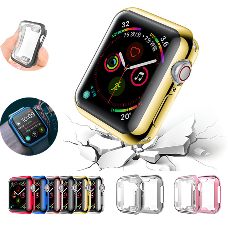 Watch Cover Case For Apple Watch 5 4 40MM 44MM Plating Protector Tpu Slim Soft Cases For Iwatch Series 3 2  38 42MM Accessories
