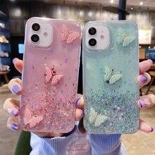 Glitter Case For Samsung A82 A11 A10 Case Silicon A01 A40 A41 A42 A20S A7 A6 A8 Plus 2018 S10 S20 FE S21 Plus Butterfly Cover