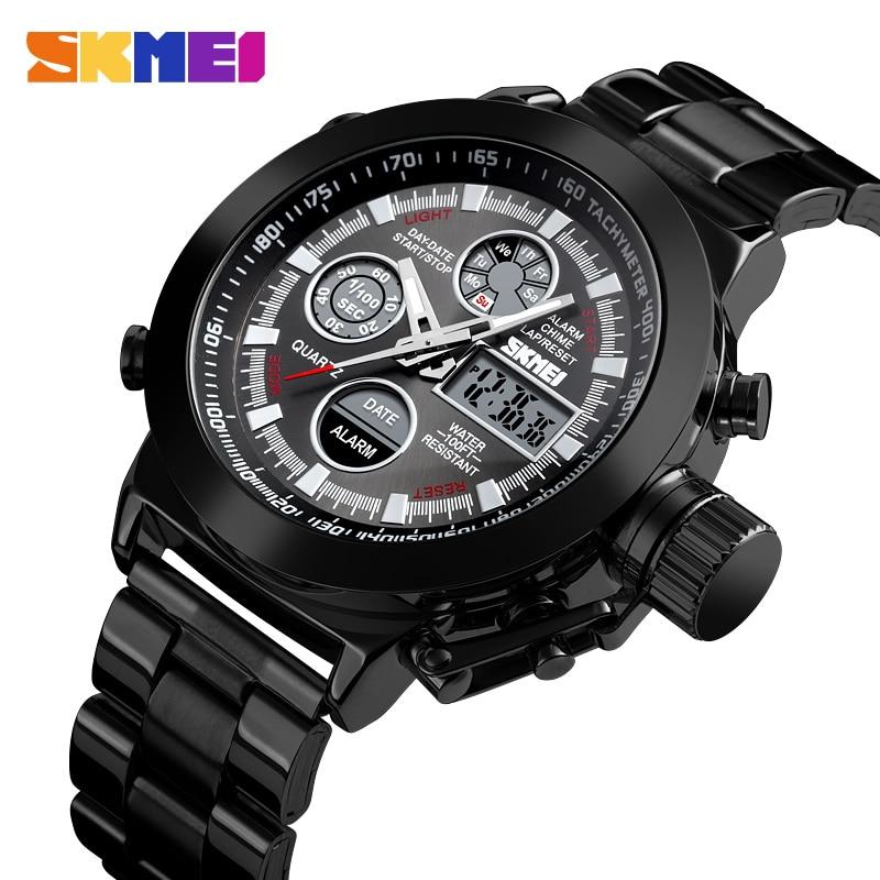 SKMEI Fashion Dual Display Watch 2Time Men Watch Waterproof Stainless Steel Strap Luminous Sport Watch Men Relogio Masculino1515