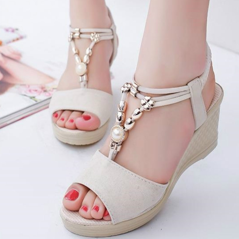 Summer Women Gladiator Sandals Wedges High Heel Platform Laides Shoes Peep Toe String Beads Casual Female Zapatos De Mujer