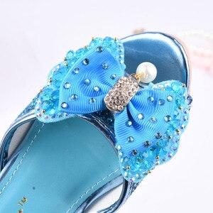 Image 3 - Mädchen Sommer Sandalen Slipper Pailletten Princesse Kinder High Heel Kleid Schuhe Leder Slipper Für Kinder Rutschen