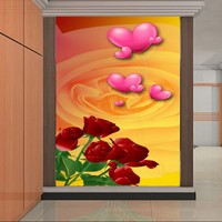 Drop Shipping Custom Photo Wallpaper Red Roses Heart shaped Warm Wallpaper Hotel Theme Restaurant Entrance Background Wall Mural