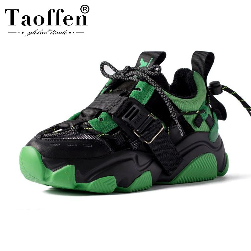 Taoffen 2020 Ladies Fashion Genuine Leather Sneakers Comfortable Brand Thick Sole Shoes Women Luxury Sneakers Size 35-42