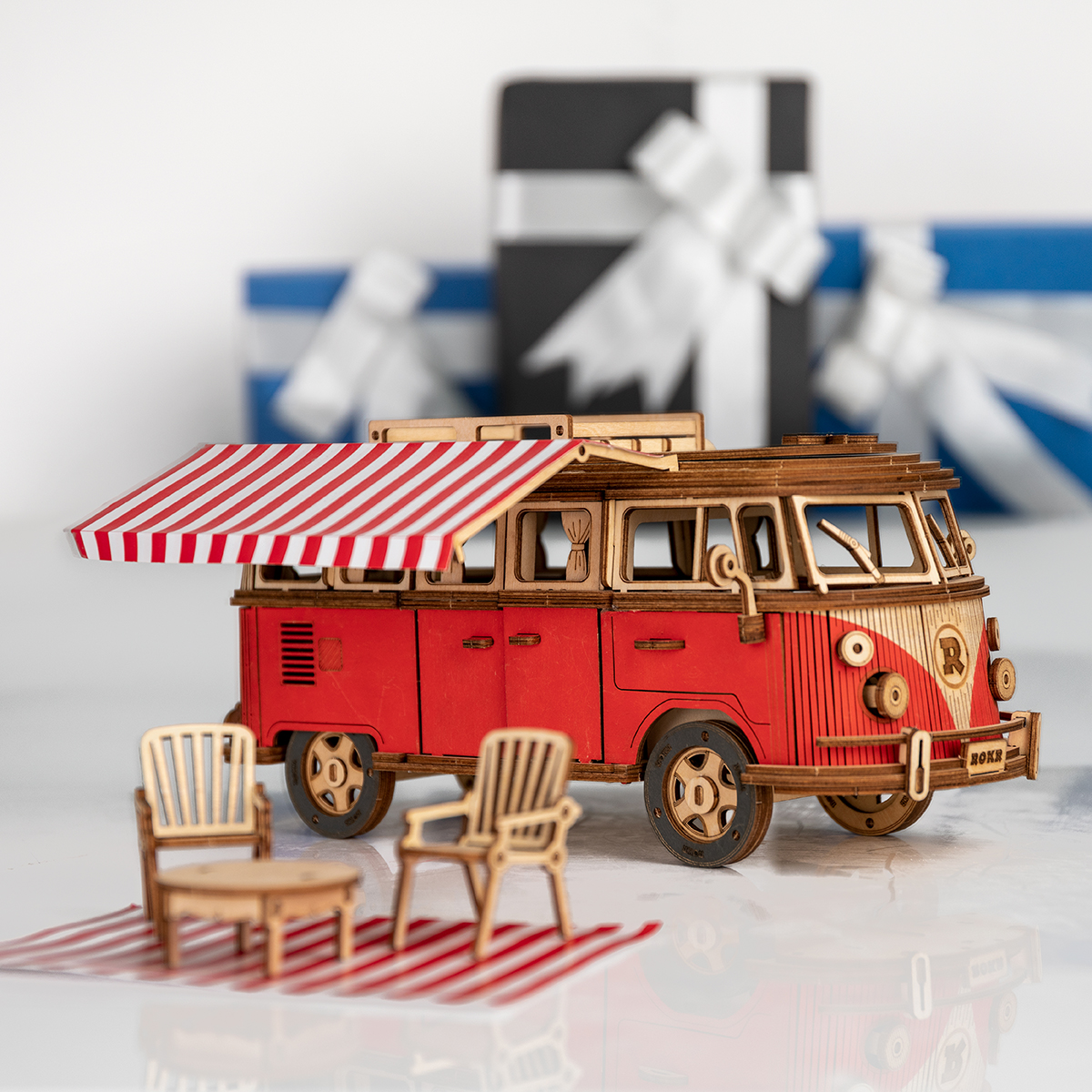 Vehicle - Robotime 242pcs DIY 3D Camper Van Wooden Recreational Vehicle Puzzle Game Assembly Car Toy Gift