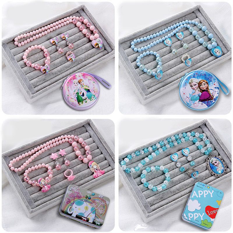 Kids jewelry sets for girls Princess ice pink blue acrylic plastic resin toys pig necklace bracelet ring box bag
