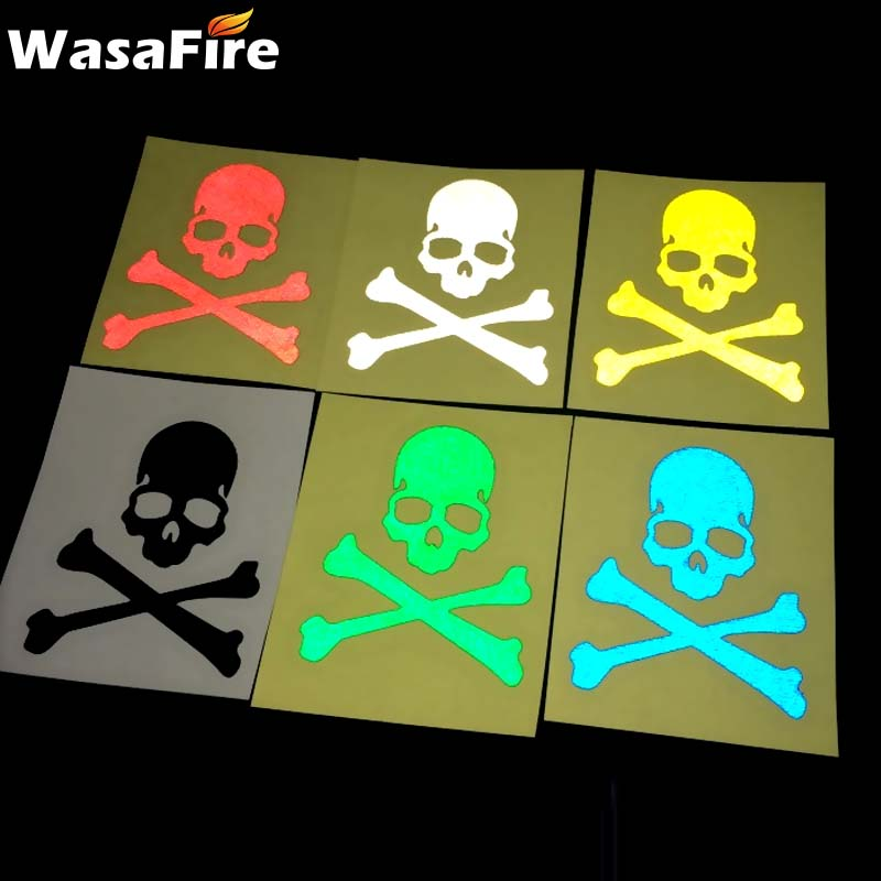 1pc Bike Reflective Sticker Fluorescent Skull Bicycle Stickers Cycling Road MTB Fixed Gear Skeleton Decals Bicycle Accessories