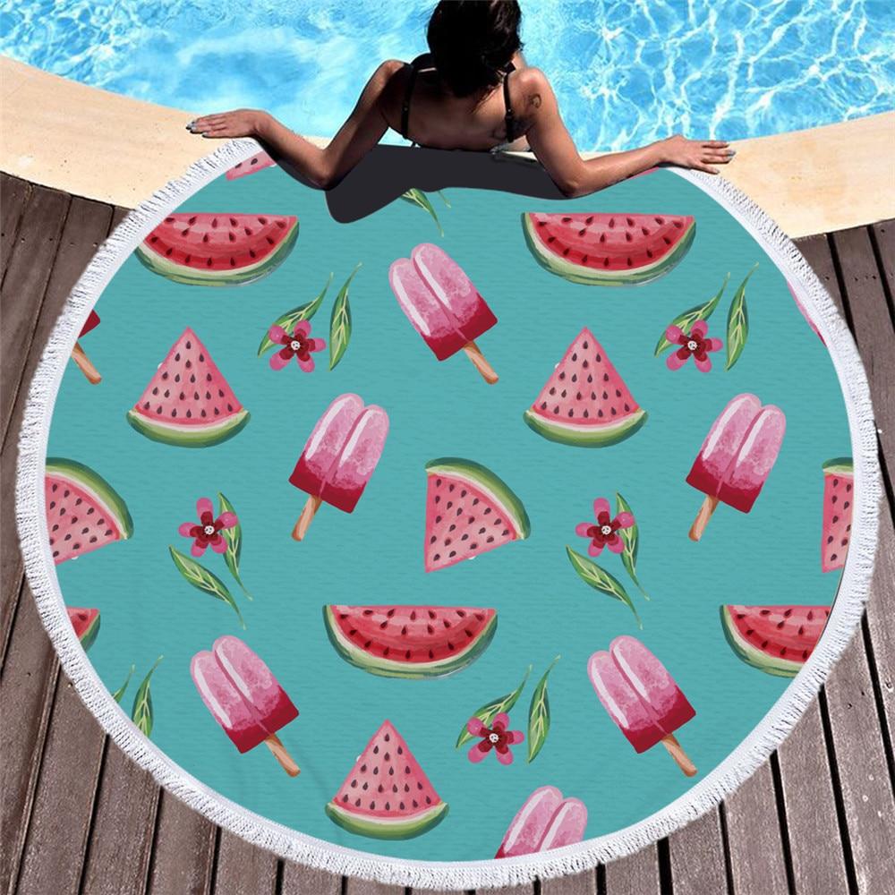 Été nouvelle serviette de plage 3D imprimé vacances bord de mer Fruits nourriture douce crème glacée gâteau piscine serviette de bain douche natation couverture douce
