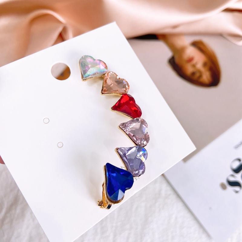 MENGJIQIAO Korean Exaggerated Luxury Colorful Crystal Love Heart Stud Earrings For WomenTemperament Boucle D'oreille Jewelry